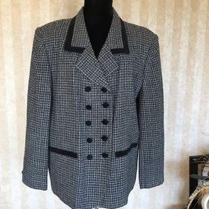 Worthington Velvet Trimmed Tweed Blazer